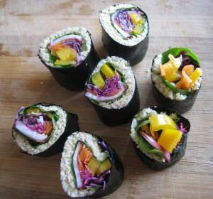 Raw vegan sushi (made with parsnip rice)