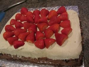 raw ice cream cake with strawberries