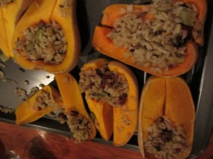 Butternut with brown/wild rice stuffing with pears & dried cranberries