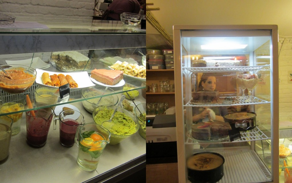 Display cases of raw food at Mannatural, Budeapest