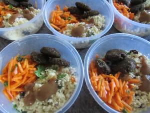 raw vegan falafel, Moroccan carrot salad & parsnip cous cous