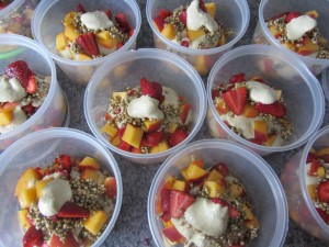 strawberry peach raw breakfast parfait