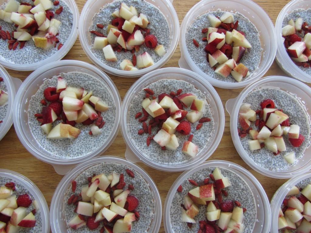 raw chia porridge with fruit and almond milk