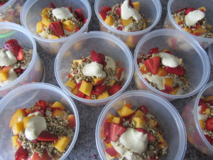 raw strawberry peach parfaits